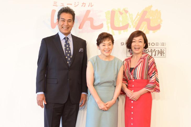 ミュージカル「にんじん」製作発表記者会見より。左から宇梶剛士、大竹しのぶ、キムラ緑子。