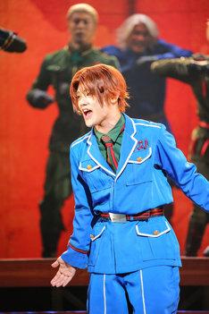 ミュージカル「ヘタリア~in the new world~」ゲネプロより、長江崚行演じるイタリア。