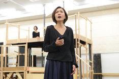ミュージカル「スカーレット・ピンパーネル」公開稽古より、安蘭けい。