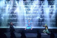 「スーパー歌舞伎II(セカンド)『ワンピース』」公開舞台稽古より、本水を使った立廻り。