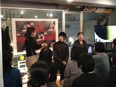 「第12回本公演『滅びの国』チケット発売イベントより。左から山田佳奈、三津谷亮、冨森ジャスティン。