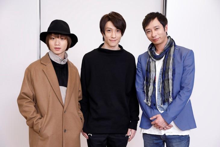 「スーパーダンガンロンパ2 THE STAGE~さよなら絶望学園~2017」出演者。左から植田圭輔、鈴木拡樹、いしだ壱成。
