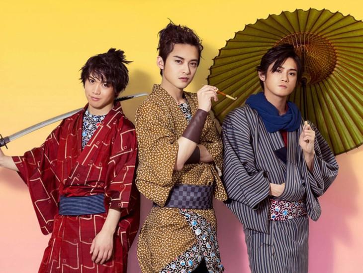 気晴らしBOYZ 第9回本公演「ふらちな侍」ビジュアルより、左から輝山立、木ノ本嶺浩、原嶋元久。