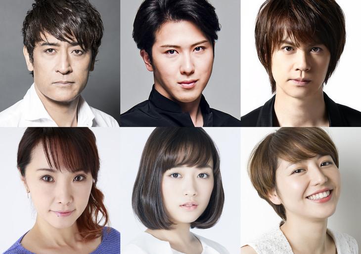 上段左から橋本さとし、尾上松也、浦井健治。下段左から濱田めぐみ、大原櫻子、長澤まさみ。