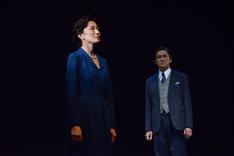 左から板谷由夏演じるロザリンド・フランクリン、神尾佑演じるモーリス・ウィルキンズ。