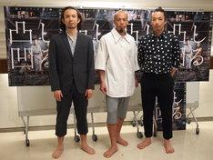 「談ス・シリーズ第三弾」囲み取材の様子。左から平原慎太郎、大植真太郎、森山未來。