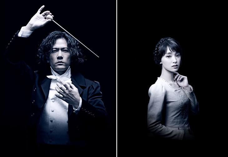 左から、稲垣吾郎扮するルードヴィヒ・ヴァン・ベートーヴェン、剛力彩芽扮するマリア・シュタイン。
