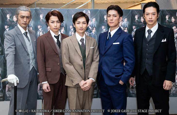 「舞台『ジョーカー・ゲームII』」囲み取材より。左から谷口賢志、鈴木勝吾、木戸邑弥、君沢ユウキ、合田雅吏。