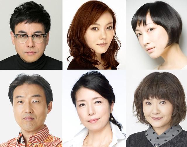 上段左から鈴木浩介、鈴木杏、緒川たまき。下段左からみのすけ、高橋ひとみ、犬山イヌコ。