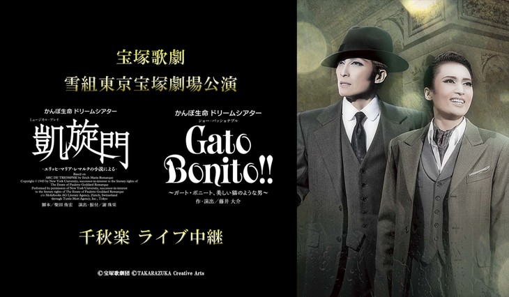 宝塚歌劇雪組「ミュージカル・プレイ『凱旋門』-エリッヒ・マリア・レマルクの小説による-」「ショー・パッショナブル『Gato Bonito!!』~ガート・ボニート、美しい猫のような男~」ライブビューイング告知ビジュアル