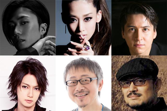 音楽活劇「SHIRANAMI」出演者ほか。左上から時計回りに早乙女太一、龍真咲、伊礼彼方、脚本・演出のG2、松尾貴史、喜矢武豊(ゴールデンボンバー)。
