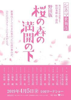 シネマ歌舞伎「野田版 桜の森の満開の下」速報ビジュアル