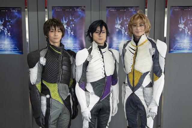 左からセシル・アイジマ役の横井翔二郎、トキヤ・イチノセ役の松村龍之介、ナツキ・シノミヤ役の山川宗一郎。