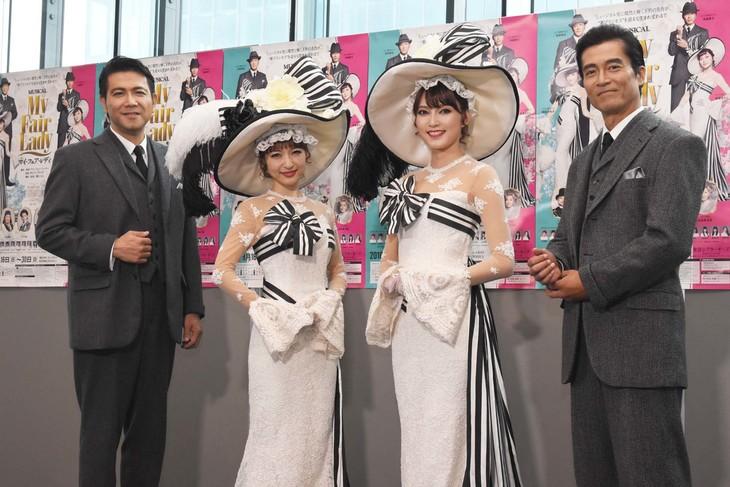 ミュージカル「マイ・フェア・レディ」初日前会見より、左から別所哲也、神田沙也加、朝夏まなと、寺脇康文。