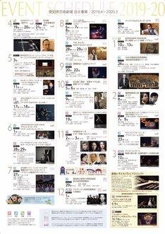 愛知県芸術劇場 2019年4月から20年3月にかけてのラインナップのチラシ。