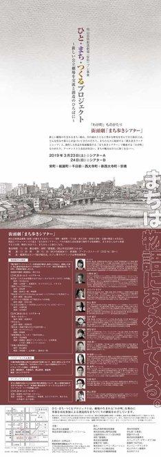 岡山芸術創造劇場(仮称)プレ事業「ひと・まち・つくるプロジェクト『わが町』ものがたり 街頭劇『まち歩きシアター』」チラシ