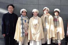 KAAT神奈川芸術劇場プロデュース「恐るべき子供たち」囲み取材より、左から白井晃、松岡広大、南沢奈央、柾木玲弥、馬場ふみか。