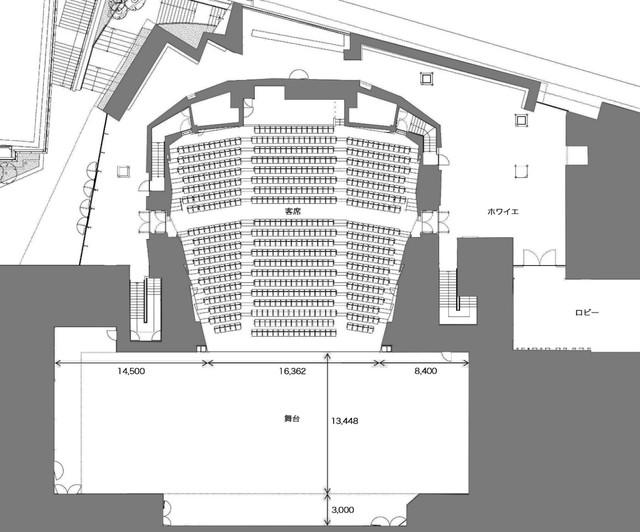 新生パルコ劇場の図面。(図面・パース提供:株式会社 竹中工務店)
