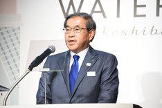 「WATERS takeshiba」プロジェクト発表会より。JR東日本の深澤祐二代表取締役社長。