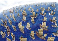 海を越え、大陸から侵略しにやってくる蒙古たち。