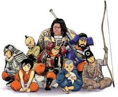 迅三郎と仲間たち。