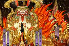 祭りのシーンではカラフルなねぷたが街をパレードした。