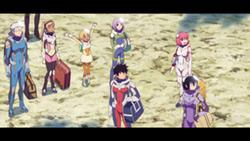 「彼方のアストラ」の場面カット。カナタたちは学校行事の一環として、惑星マクパに降り立つ。
