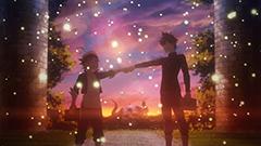 アニメ第2話より。どちらが魔法帝になるか勝負だと拳を付き合わせるアスタとユノ。