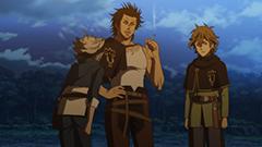 アニメ第6話より。「黒の暴牛」のメンバー。左からアスタ、ヤミ、フィンラル。