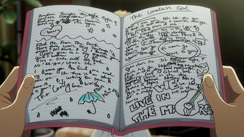 第1話より。キャロルの曲を聴いたチューズデイが、ノートいっぱいに書いた歌詞のアイデア。
