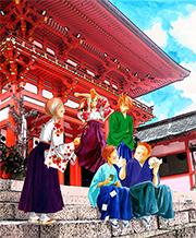 近江神宮の前に集まる瑞沢高校かるた部メンバー。