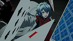 アニメ「時間の支配者」第2話より。ヴィクトはトランプを媒介に計と戦う。