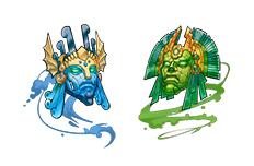 パズル&ドラゴンズの進化用モンスター「古代の蒼神面」「古代の碧神面」