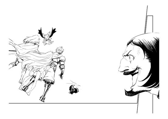 「グランブルーファンタジー」第1話より、ポンメルン大尉がヒドラを呼び出すシーン。人物、背景、モンスターが別々のクリエイターによって描かれており、各素材を組み合わせることで迫力ある1シーンが完成する。