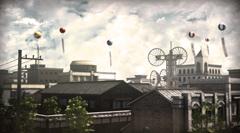 ゲーム「デモンズゲート」より。昭和10年の街並みを描いた場面。