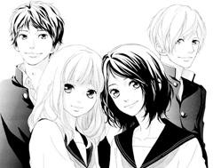 「思い、思われ、ふり、ふられ」のカット。(左から)和臣、由奈、朱里、理央。