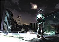 「風都探偵」第1話扉ページ。風都のシンボルである風都タワーが奥に見える。