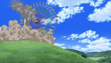 「劇場版」より。後半の戦場となった遊園地エリアで、ウサギさんチーム(1年生チーム)は観覧車を転がして大学選抜チームを撃退する。