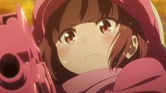 「GGO(アニメ)」第1話より。取材中、時雨沢は事あるごとに「レンちゃんかわいい」と繰り返していた。