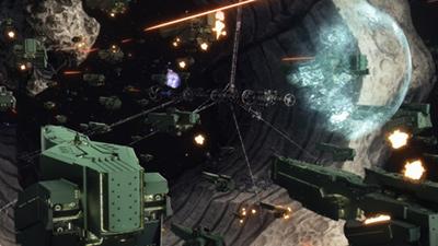 3DCGの進化により、高精細な描写の宇宙戦艦が膨大に描けるように。人物の背景にも多くの宇宙戦艦がしっかりと映り込んでいる。