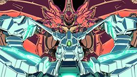 episode 7(最終話)「虹の彼方に」より。ネオ・ジオングと肉弾戦を展開するユニコーンガンダム。