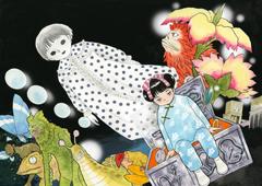 月刊ヒーローズでは、円谷プロの作品を愛する作家が描き下ろしたカラーイラストをポスター化する企画「総天然色 円谷オールスターズ」を展開。高橋留美子は「ウルトラQ」に登場する怪獣たちを執筆した。