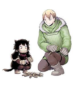 「ヘテロゲニア リンギスティコ」カット。左の小さい子供がガイドのススキ、右の男性が新人言語学者のハカバ。