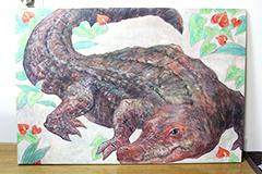 江口が描いた大学2年時の課題制作。上野動物園の小さいワニをモチーフに描いたもの。
