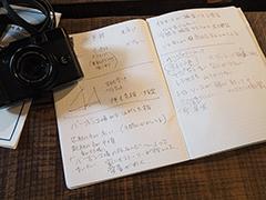 マキのカメラと取材用メモ帳。カメラはFUJIFILM X10。
