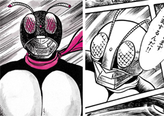 初期(左)は丸みが特徴的だったマスクが、次第に洗練されたフォルム(右)に。