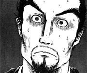 柴田勝家。謀り事に失敗し、信長に追いつめられての表情。