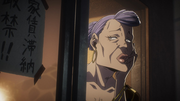 江原正士演じるクリスティーナ松崎。十三が処理屋を構えるアパルトメント・松崎ビルヂングのオーナーをしている。