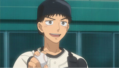 中村が演じる阿部隆也。中学生時代はシニアの野球部に所属していた策略家で頭脳派なキャッチャー。高校で三橋とバッテリーを組むことになる。