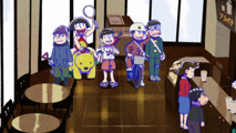 「トド松と5人の悪魔」より。トド松がアルバイトするカフェに謎の服装で訪れた5人の兄たち。